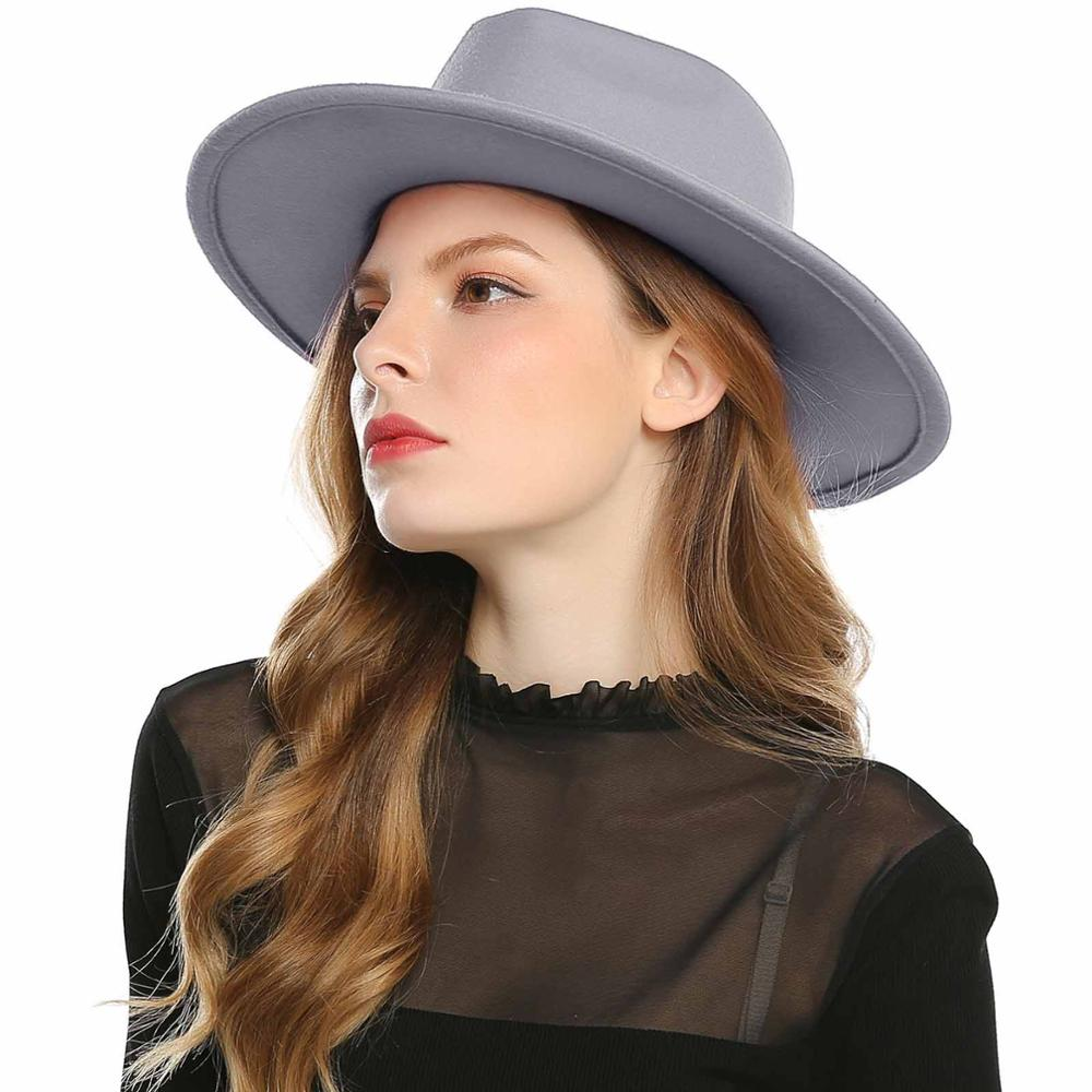 Black Red Hat For Women / Wool Fedoras / Soft Panama Hats in Rock n Roll style with Brim & band - HARD'N'HEAVY