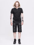 Black Rock Style Shorts / Men's Alternative Fashion Gothic Outfits / Punk Clothes - HARD'N'HEAVY