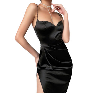 Black Silk Dress for Women in Gothic Fashion / Sexy V-Neck Sleeveless High Knee-Length Strap Dress