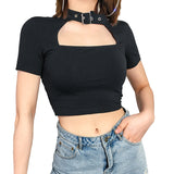 Black Slim Sexy Top / Women Front Cut Out Cropped Tee Shirt Choker Collar / Short Sleeve Gothic Top