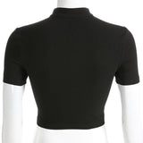 Black Slim Sexy Top / Women Front Cut Out Cropped Tee Shirt Choker Collar / Short Sleeve Gothic Top - HARD'N'HEAVY