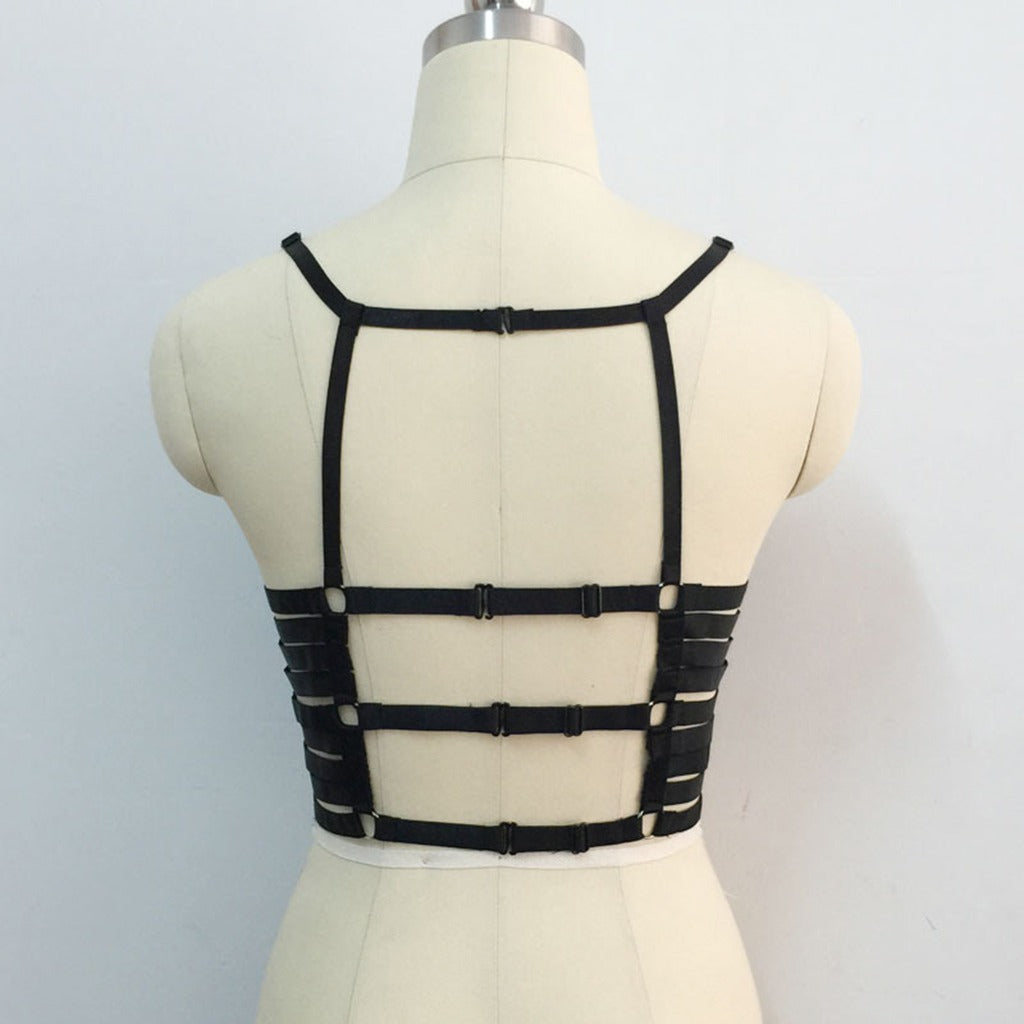 Black Strappy Cage Bra Body Harness / Crop Tops Accessories in Gothic Style - HARD'N'HEAVY