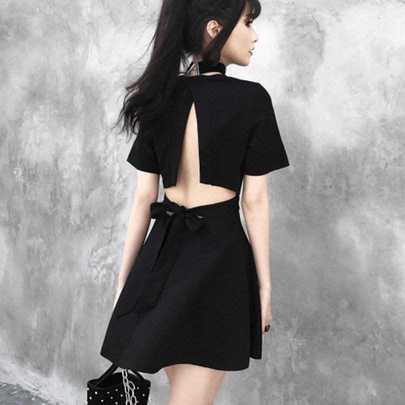 Black Summer Gothic Dress for Women / Backless Top with Deep V-Neck - HARD'N'HEAVY