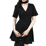 Black Summer Gothic Dress for Women / Backless Top with Deep V-Neck