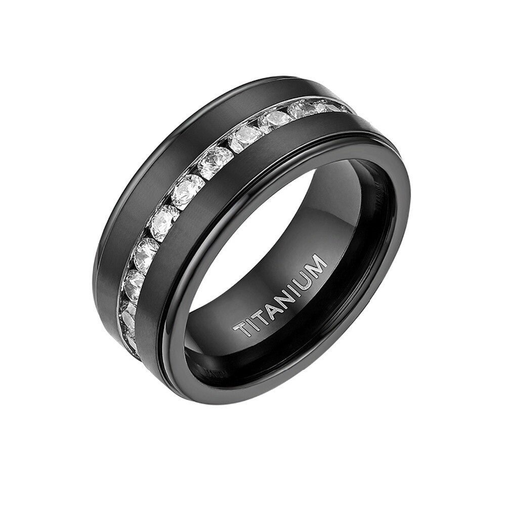 Black  Titanium Band Ring / CZ Stone Ring / Gothic jewelry - HARD'N'HEAVY