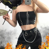 Black Tube Tops For Women / What to Wear to a Concert / Patchwork Zipper Chains Top in Rock Style - HARD'N'HEAVY
