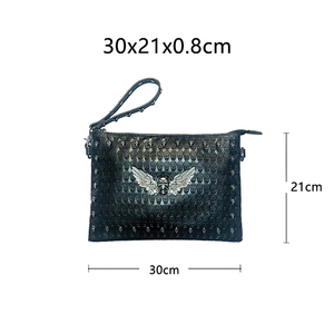 Black Unisex Shoulder Bag with Decorated Skull / Cool Handbag for Men and Women