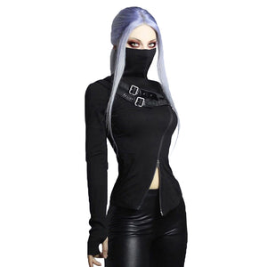 Black Women Gothic Streetwear / Sexy Doubt Zipper Turtleneck Long Sleeve Tops - HARD'N'HEAVY