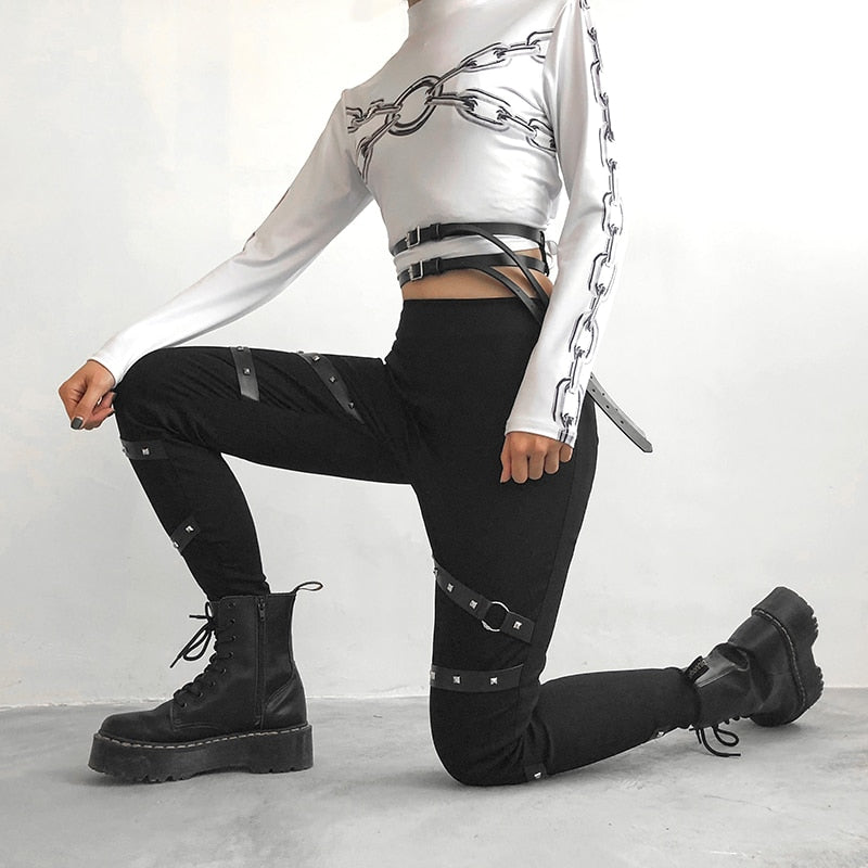 Black Women Leggings in Gothic Style / High Waist Female Pants Ribbon With Rivet Patchwork - HARD'N'HEAVY