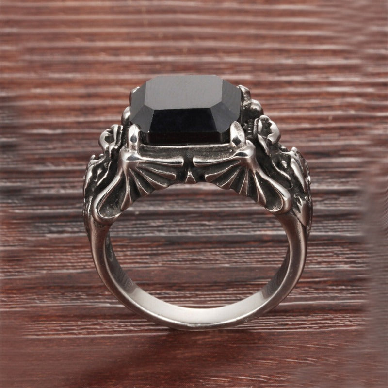 Black Zircon Rings 316L Stainless Steel / Gothic Jewelry / Occult jewelry - HARD'N'HEAVY