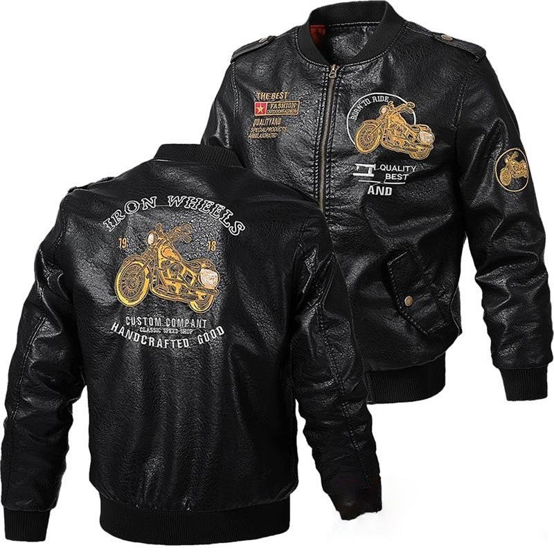 Born to Ride Printed Faux Leather Biker Jacket / Men Rock Style Coats / Embroidery Bomber Pilot - HARD'N'HEAVY