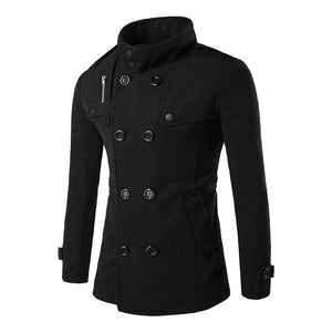 British Style Winter Jacket and Coat for Men / Double Breasted Trench Coat with Slim Fit