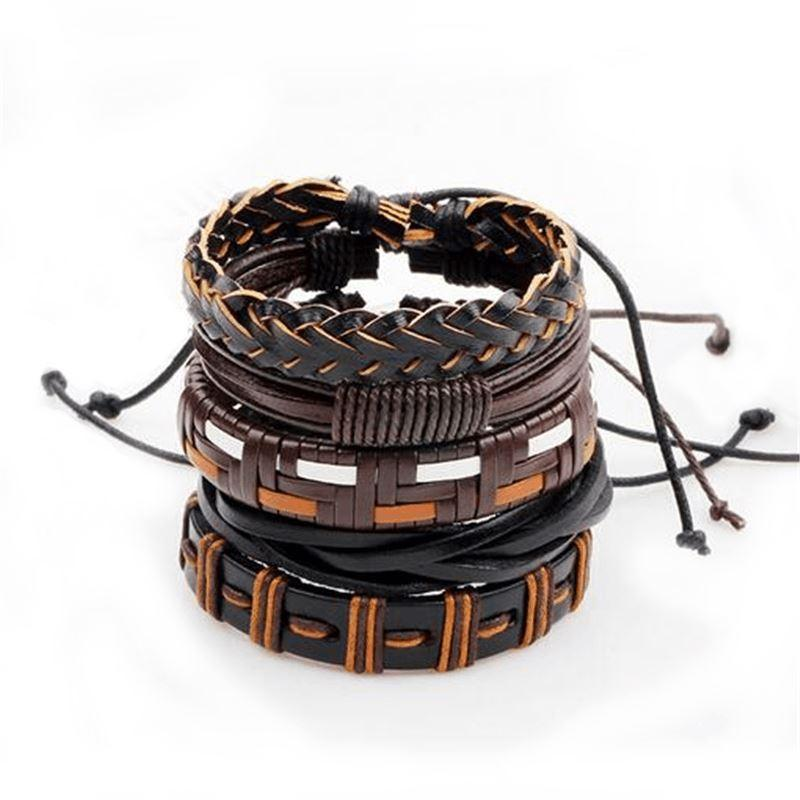 Brown & Black Leather Bracelet in Rock Style & Braided Rope Wristband Set of 5 PCs - HARD'N'HEAVY
