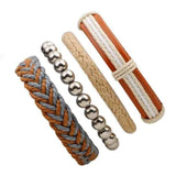 Brown Bracelet in Rock Style & Braided Rope Wristband Set of 4 PCs - HARD'N'HEAVY