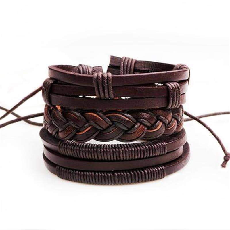 Brown Leather Bracelet in Rock Style & Braided Rope Wristband Set of 3 PCs - HARD'N'HEAVY