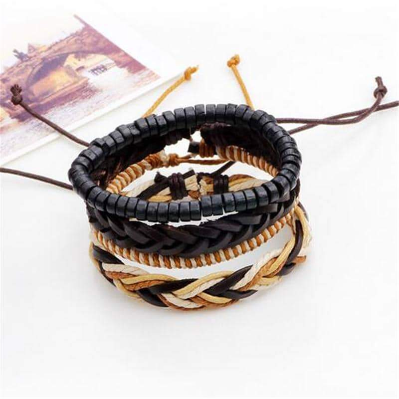 Brown Leather Bracelet in Rock Style & Braided Rope Wristband Set of 4 PCs - HARD'N'HEAVY