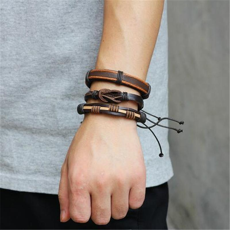 Brown Leather Bracelet in Rock Style & Braided Rope Wristband Set of 5 PCs - HARD'N'HEAVY