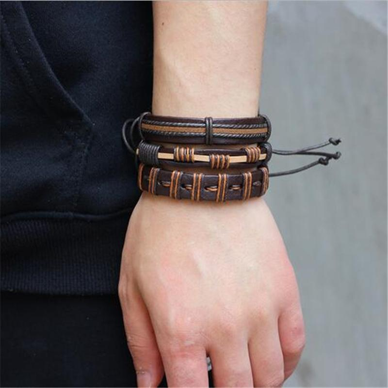 Brown Leather Bracelet in Rock Style & Braided Rope Wristband Set of 6 PCs - HARD'N'HEAVY