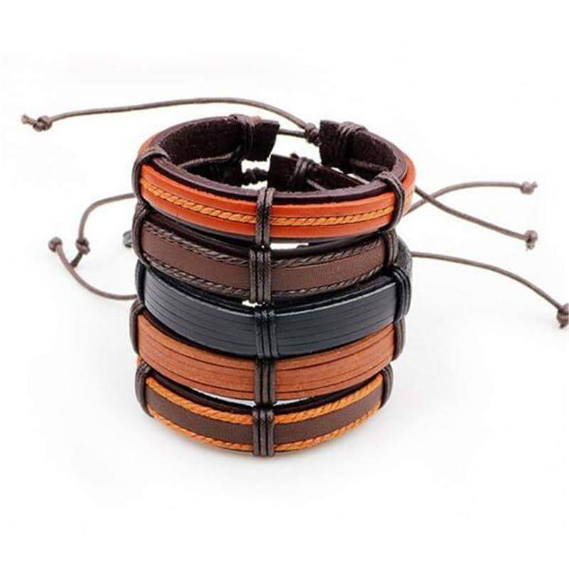 Brown Leather Bracelet in Rock Style & Wristband Set of 5 PCs - HARD'N'HEAVY