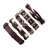 Brown & White Leather Bracelet & Wristband in Rock Style Set of 5 PCs - HARD'N'HEAVY