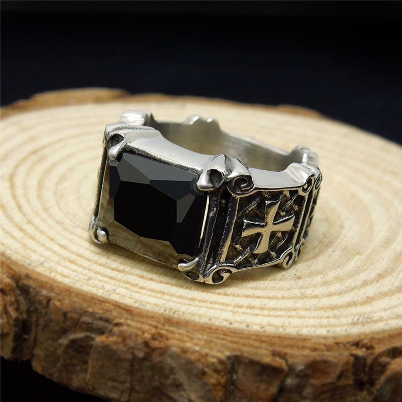 Celtic Cross Ring with Big Stone / Stainless Steel Punk Rock Gothic Jewelry / Wedding Rings - HARD'N'HEAVY