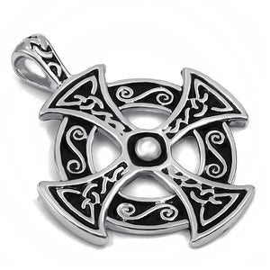 Celtic Solar Cross Pendant Necklace / Zinc Pewter Amulet / Men's And Women's Jewelry