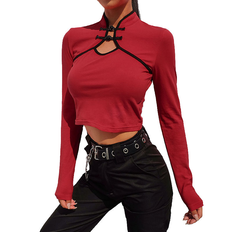 Chinese Long Sleeve Fashion Crop Tops / Women Alternative Clothing - HARD'N'HEAVY