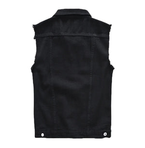 Classic Black Jeans Vest for Men in Rock Style / Slim Fringe Denim Waistcoat Sleeveless Top