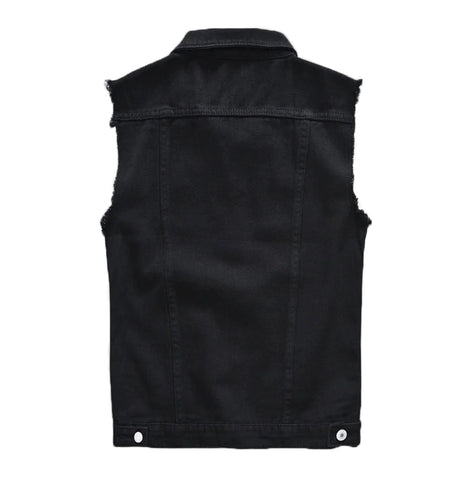 Classic Black Jeans Vest for Men in Rock Style / Slim Fringe Denim Waistcoat Sleeveless Top - HARD'N'HEAVY