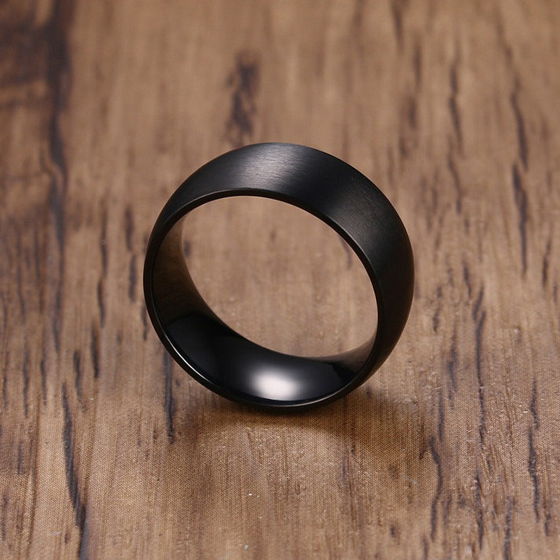 Classic Black Stainless Steel Ring / 8mm Matte Finish Engagement Ring / Cool rings - HARD'N'HEAVY