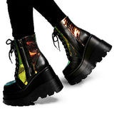 Classic Colorful Wedges Women's Platform Ankle Boots / High Heels Rock Chicks Shoes - HARD'N'HEAVY