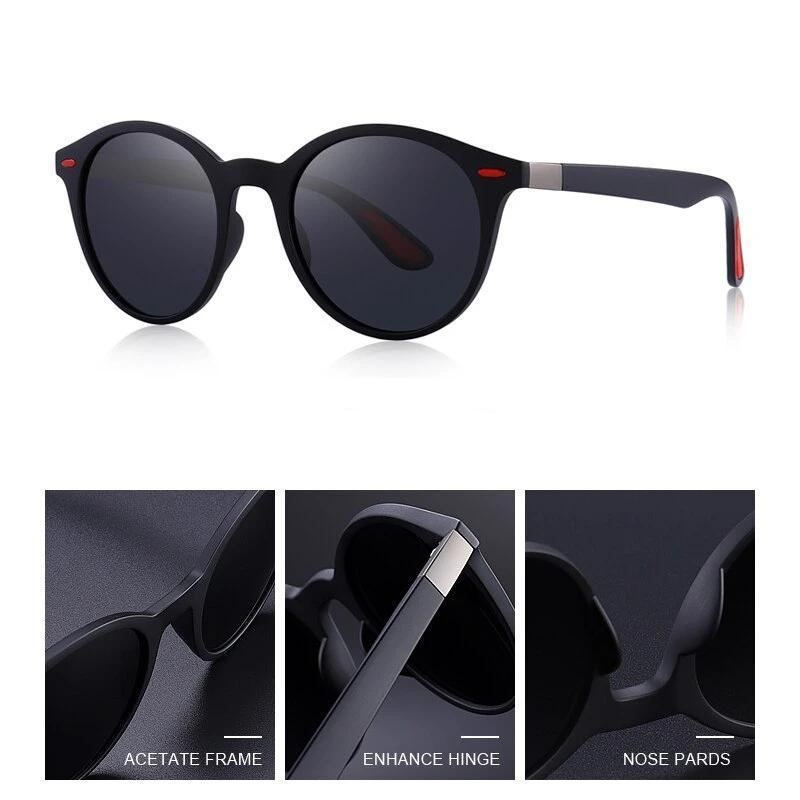Classic Retro Rivet Polarized Sunglasses with UV400 Protection TR90 Legs Lighter Design Oval Frame - HARD'N'HEAVY