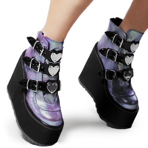 Classic Wedges Female Platform Ankle Boots / Platform Shoes for Women with Metal Buckles