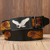 Classical Designer Fly Eagle Belt for Men and Women / Genuine Leather Belts with Automatic Buckle - HARD'N'HEAVY