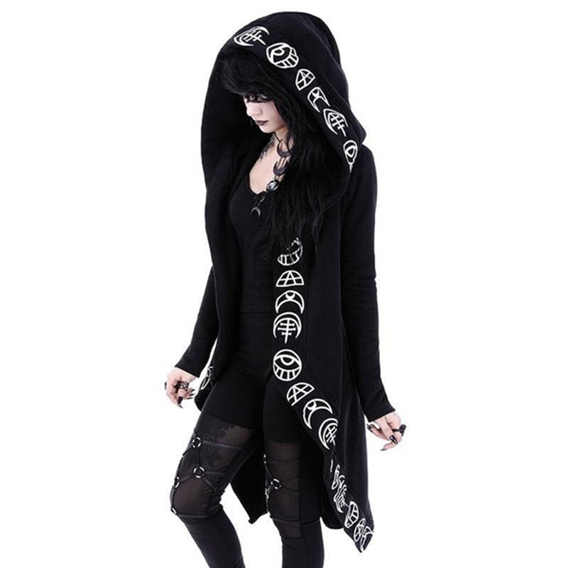 Cool Gothic Coat / Black Women's Loose Cotton Hooded Plain Coat / Female Gothic Clothing - HARD'N'HEAVY