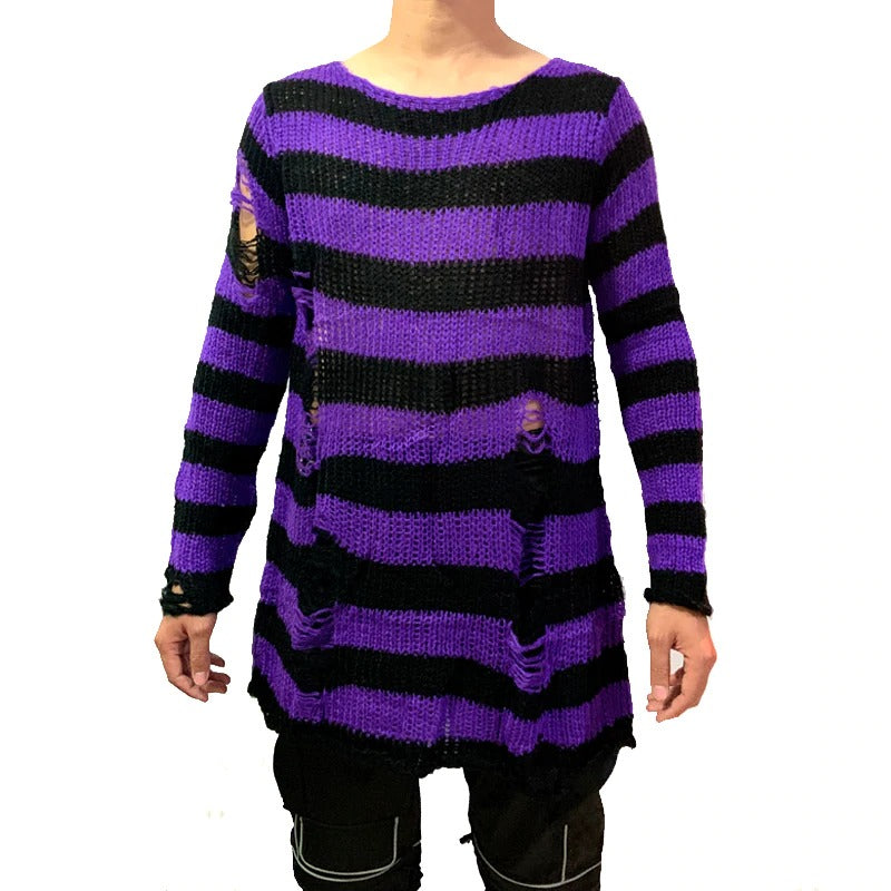 Cool Male Striped Long Sweater in Grunge Style / Stretch Thin Pullover Broken Sweaters - HARD'N'HEAVY