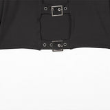 Crop Top with Buckle / Long Sleeve Womens Gothic Clothing / Punk Black Tops - HARD'N'HEAVY