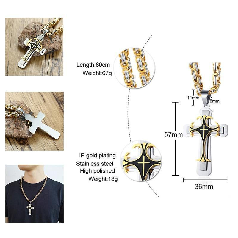 Cross Pendant Necklace / Stainless Steel Chain / Alternative Fashion - HARD'N'HEAVY
