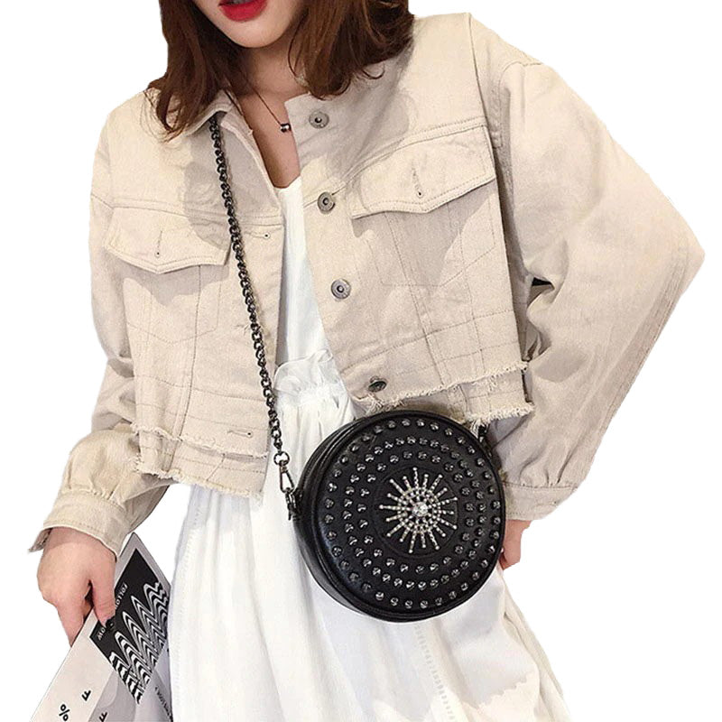 Diamonds Circular Bag for Women / Female Shoulder Rivet Bag / Crossbody Small Bags in Rock Style - HARD'N'HEAVY