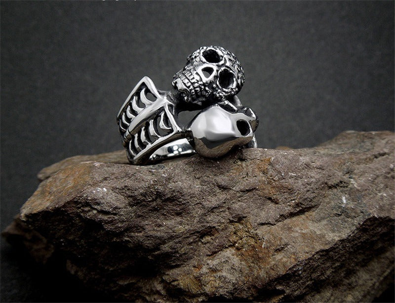 Double Skull Ring / Unique Design Vintage Stainless Steel Rings For Rocker / Biker Jewelry - HARD'N'HEAVY