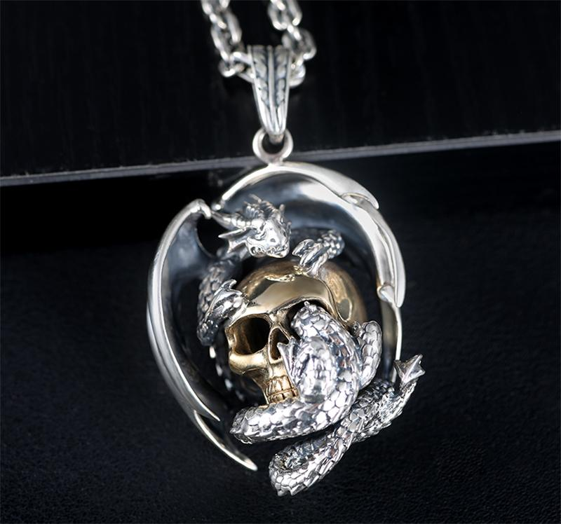 Dragon with Gold Color Skull / 925 Silver Pendant Necklace / Rock Style Biker Sterling Jewelry - HARD'N'HEAVY