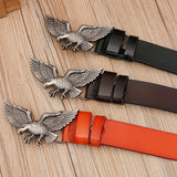 Eagle Design Belts for Men and Women / Cowskin Handcraft Leather Belt / Waistband Fly Eagle Buckle - HARD'N'HEAVY