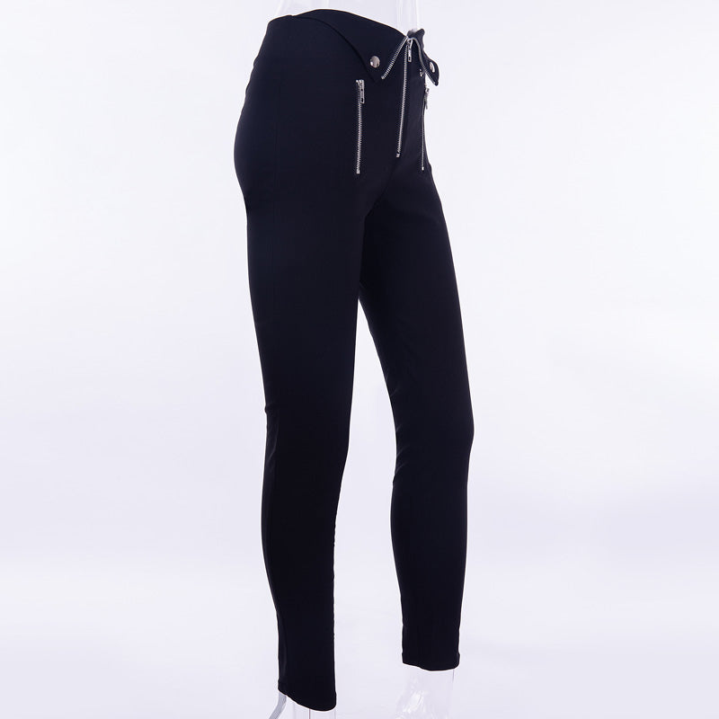 Elastic Zip High Waist Pencil Women's Pants / Black Stretchy Trousers in Alternative Fashion - HARD'N'HEAVY