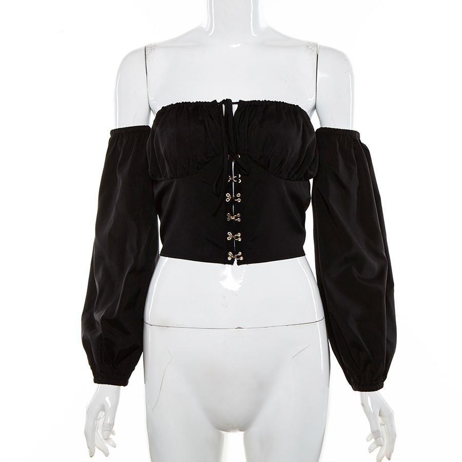 Elegant Off Shoulder Women Tops in Alternative Fashion / Full sleeve Top in Black and White colors - HARD'N'HEAVY