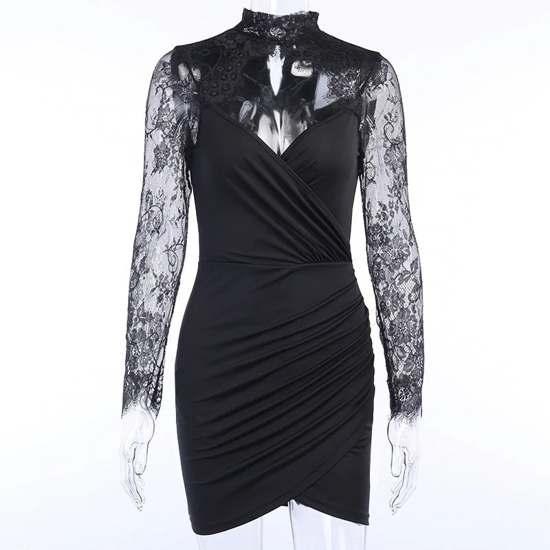 Elegant Sexy Lace Spliced Dress for Ladies / Women Slim Mini Party Dress with Long Sleeves - HARD'N'HEAVY