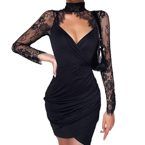 Elegant Sexy Lace Spliced Dress for Ladies / Women Slim Mini Party Dress with Long Sleeves
