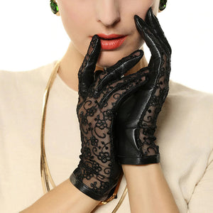Elegant Women's Genuine Leather Gloves / Ladies Thin Non-slip Lace Gloves