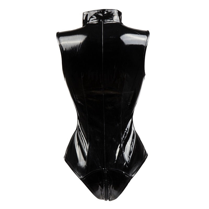 Erotic Faux Leather Latex Bodysuit / Plus Size Female Zip Fetish Costumes in Gothic Style - HARD'N'HEAVY
