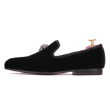Exclusive Men Skull Buckle Rock Style Velvet Loafers / Rock and Roll outfits for guys - HARD'N'HEAVY