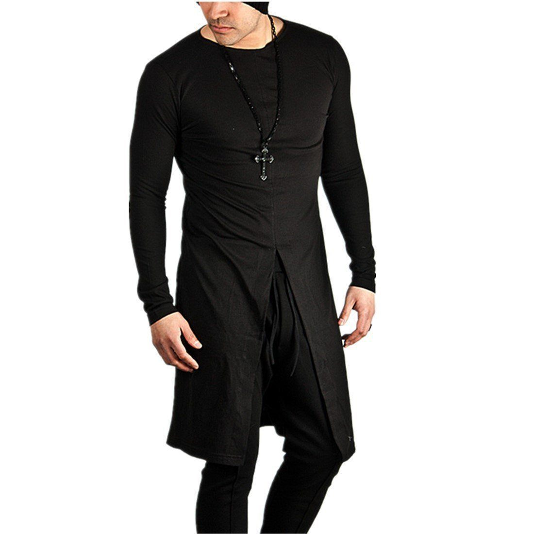 Extra long Rock Fashion Sweatshirt for Men Side Zipper in Gothic Style - HARD'N'HEAVY